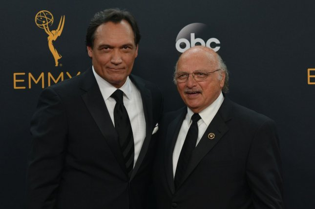 Dennis Franz (R), pictured with Jimmy Smits, won't return as Andy Sipowicz in the NYPD Blue reboot. File Photo by Christine Chew/UPI