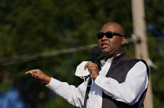 Jaime Harrison, shown speaking at a rally in North Charleston, S.C., on November 1, is expected to become the new head of the National Democratic Committee. File Photo by Richard Ellis/UPI