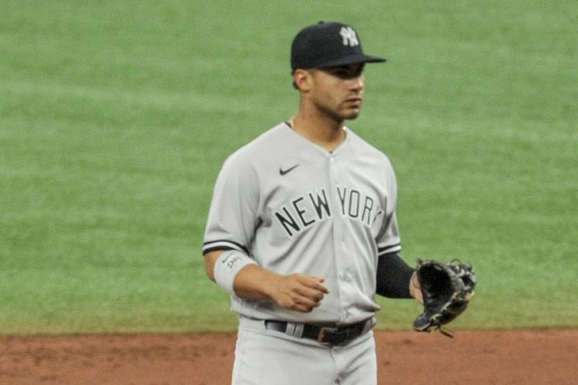 New York Yankees shortstop Gleyber Torres tested positive for COVID-19 this week despite being vaccinated and testing positive in December. FilePhoto by Steven J. Nesius/UPI