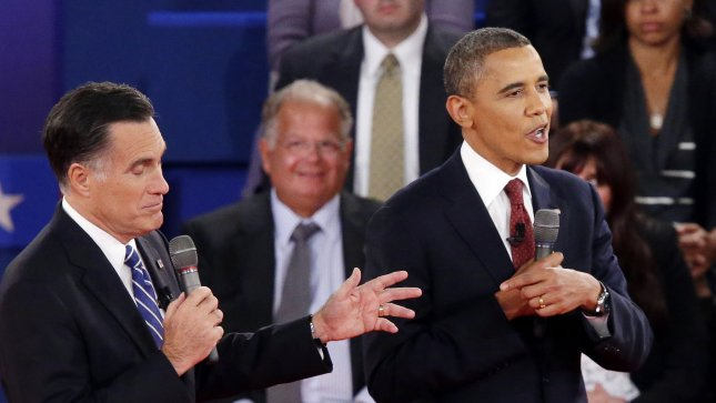 President Barack Obama and Republican nominee Mitt Romney speak at the same time during the second presidential debate at Hofstra University in Hempstead, New York on October 16, 2012. UPI/John Angelillo