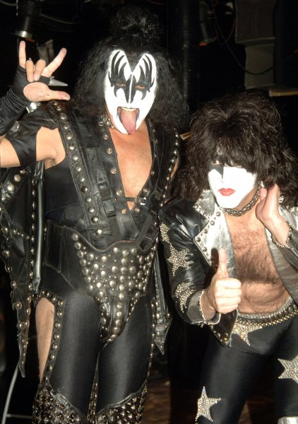 Gene Simmons and Paul Stanley (right) at the annual West Village Halloween parade held on October 31, 2006. (UPI Photo/Ezio Petersen)