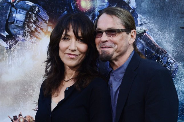 Kurt Sutter (R) and Katey Sagal at the Los Angeles premiere of Pacific Rim on July 9, 2013. The Sons of Anarchy creator will write and direct the spinoff pilot Mayans MC. File Photo by Jim Ruymen/UPI
