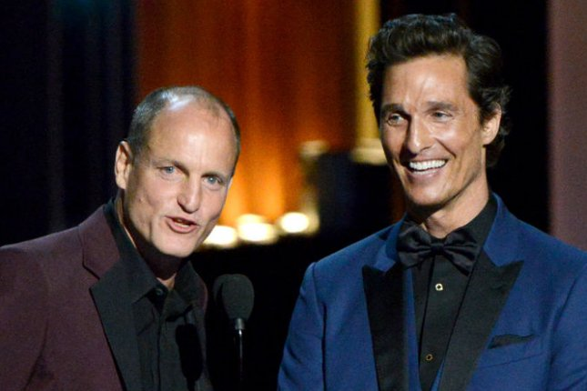 True Detective Season 1 stars Woody Harrelson (L) and Matthew McConaughey present the award for Outstanding Lead Actor in a Miniseries or a Movie during the Primetime Emmy Awards on August 25, 2014. Series creator Nic Pizzolatto is being joined by David Milch for the third season of the HBO hit. File Photo by Pat Benic/UPI