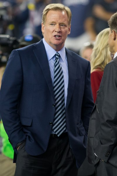 NFL commissioner Roger Goodell walks onto the field before the NFL season opener between the Kansas City Chiefs and the New England Patriots in September. Photo by Matthew Healey/ UPI