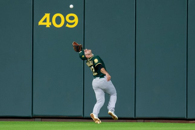 Ramon Laureano and the Oakland A's take on the Texas Rangers on Friday. Photo by Trask Smith/UPI