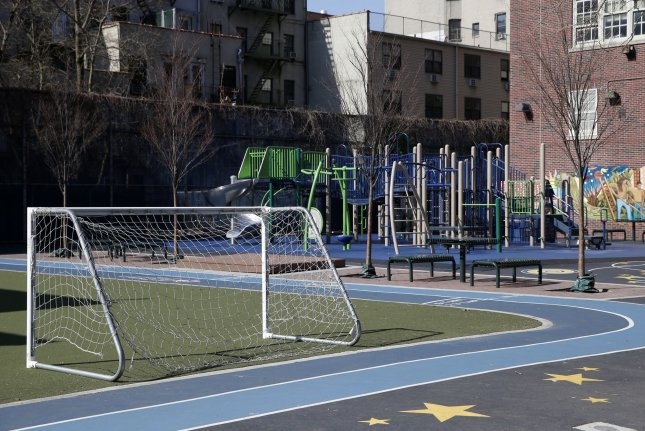 The playground at East Village Community School in New York City is closed until at least April 20 due to the coronavirus outbreak. Photo by John Angelillo/UPI