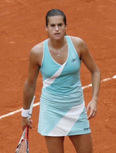 Amelie Mauresmo of France reacts after a point during her second-round match with Spaniard Carla Suarez Navarro at the French Tennis Open in Paris May 29, 2008. Suarez Navarro upset Mauresmo in straight sets 6-3, 6-4. (UPI Photo/ David Silpa)