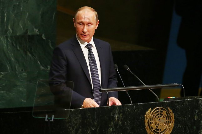 Russian President Vladimir Putin addresses the United Nations General Assembly in New York City on Sept. 28. File Photo by Monika Graff/UPI