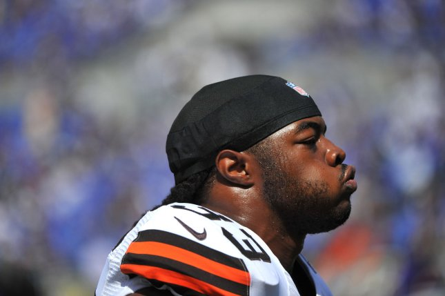 Former Cleveland Browns running back Trent Richardson is seen on the sidelines as the Browns play the Baltimore Ravens at M&T Bank Stadium in Baltimore, Maryland on September 15, 2013. The Ravens defeated the Browns 14-6. UPI/Kevin Dietsch