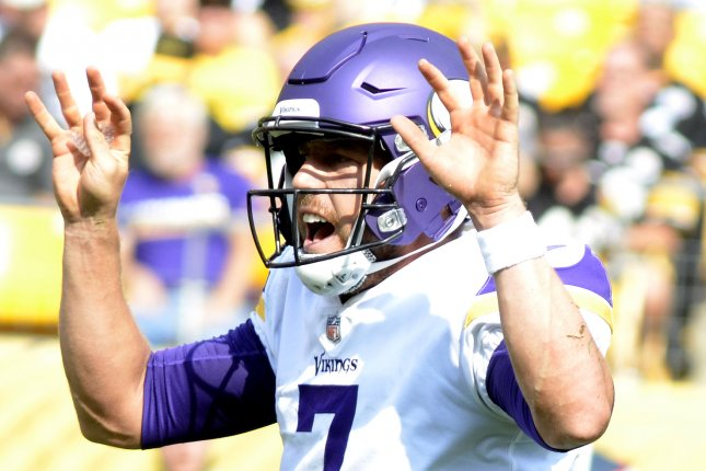 Minnesota Vikings quarterback Case Keenum (7) calls out to his line in the fourth quarter of the Pittsburgh Steelers 26-9 win against the Minnesota Vikings at Heinz Field on September 17, 2017 in Pittsburgh. File photo by Archie Carpenter/UPI