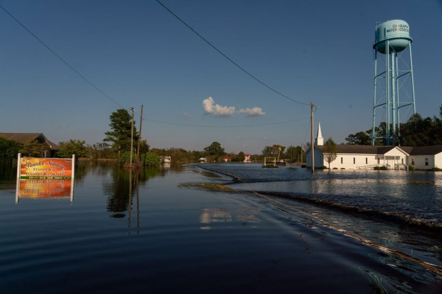 A neighborhood is flooded following Hurricane Florence on September 19, 2018 in Chinquapin, North Carolina. Photo by Ken Cedeno/UPI