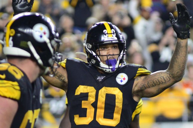 Pittsburgh Steelers running back James Conner suffered a shoulder injury against the Miami Dolphins on Oct. 28. File Photo by Archie Carpenter/UPI