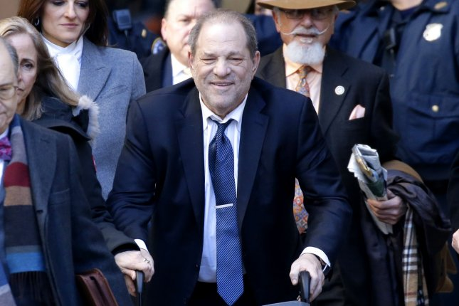Harvey Weinstein leaves Manhattan Supreme Court on February 21. Prison officials said the former film producer has the coronavirus disease. File Photo by John Angelillo/UPI