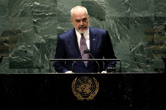 Edi Rama, prime minister of Albania, addresses the United Nations General Assembly on September 24 in New York. Photo by Peter Foley/UPI