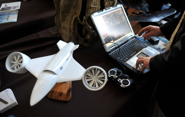 An American Dynamics Flight Systems ad-150 drone is seen during the Association of Unmanned Vehicle Systems International (AUVSI) Day on Capitol Hill, as a part of National Robotics Week, in Washington on April 15, 2010. UPI/Kevin Dietsch