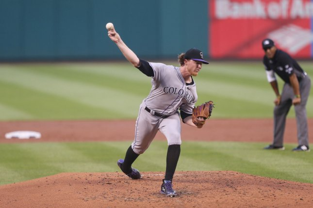 Colorado Rockies starting pitcher Jon Gray delivers a pitch to the St. Louis Cardinals in the second inning at Busch Stadium in St. Louis on July 24, 2017. File photo by Bill Greenblatt/UPI
