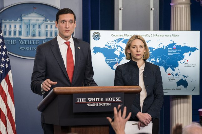 Thomas P. Bossert (L), Assistant to the President for Homeland Security, and Jeanette Manfra, Assistant Secretary of Homeland Security for Cybersecurity and Communication, deliver a briefing on North Korean involvement with WannaCry Malware Attack, at the White House in Washington, D.C. on December 19, 2017. The Trump administration said North Korea is responsible for WannaCry, the ransomware attack that infected hundreds of thousands of computers worldwide and crippled parts of Britain's National Health Service in May. Photo by Kevin Dietsch/UPI