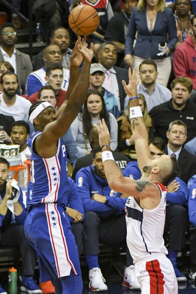 All-Star center Joel Embiid and the Philadelphia 76ers have been rolling lately. hoto by Mark Goldman/UPI