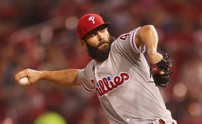 Jake Arrieta and the Philadelphia Phillies take on the Washington Nationals on Wednesday. Photo by Bill Greenblatt/UPI