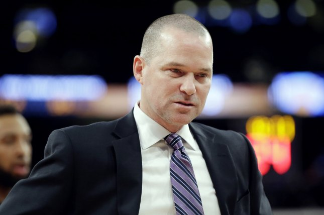 Denver Nuggets head coach Michael Malone and his team defeated the Portland Trail Blazers in Monday night's Game 2. Nikola Jokic had 37 points and nine rebounds in the win. File Photo by John Angelillo/UPI