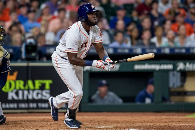 Houston Astros designated hitter Yordan Alvarez is hitting .333 through his first two Major League Baseball games after going 1-for-3 in a win against the Milwaukee Brewers Tuesday at Minute Maid Park in Houston. Photo by Trask Smith/UPI