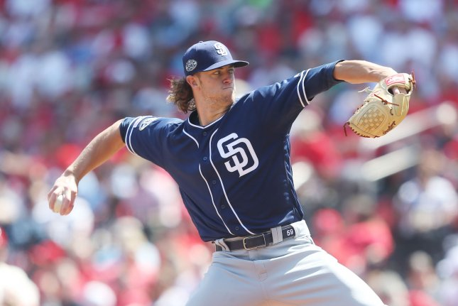 San Diego Padres starting pitcher Chris Paddack lowered his season ERA from 2.84 to 2.70 by carrying a no-hit bid into the eighth inning against Miami Wednesday. File Photo by Bill Greenblatt/UPI