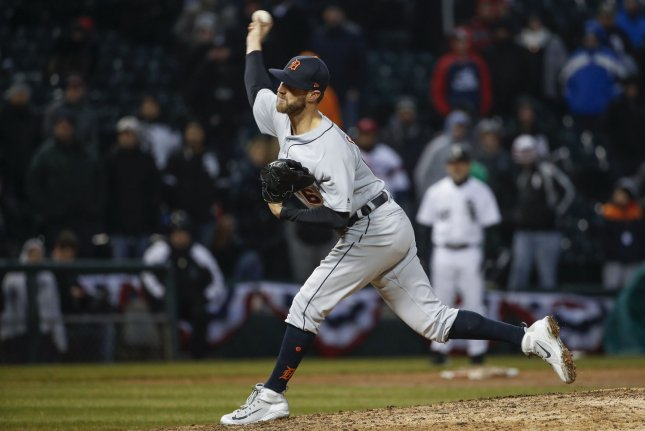 Detroit Tigers relief pitcher Shane Greene had 22 saves and a 1.18 ERA in 38 games with the Tigers this season. File Photo by Kamil Krzaczynski/UPI