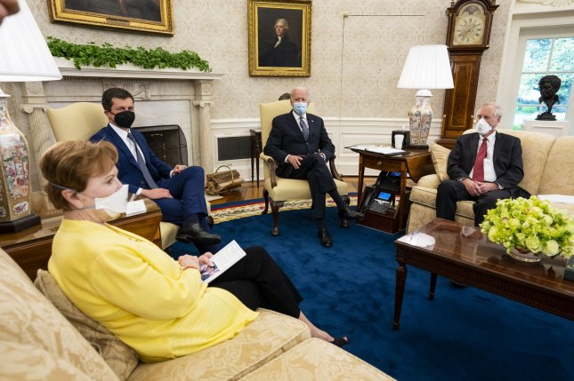 President Joe Biden meets on Monday with a bipartisan group of members of Congress to discuss investments in his $2 trillion American Jobs Plan, in the Oval Office of the White House. Photo by Doug Mills/UPI/Pool