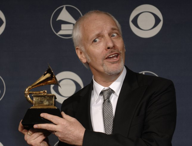 Peter Frampton holds the Grammy he won at the 49th annual Grammy Awards in Los Angeles on February 11, 2007. (UPI Photo/Phil McCarten)