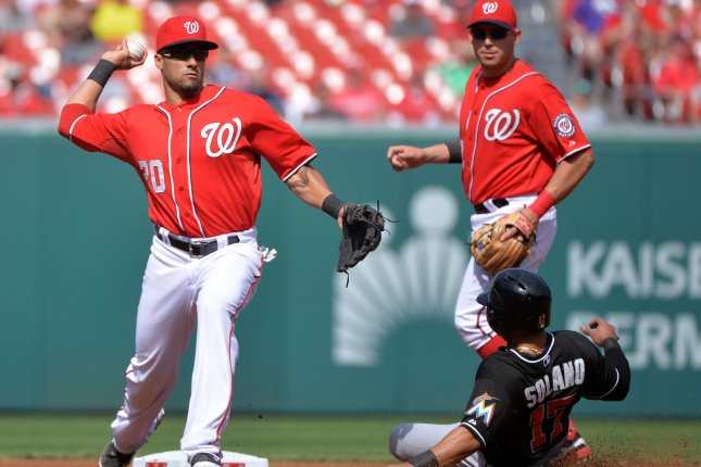 Washington Nationals shortstop Ian Desmond throws to first as he turns a double play after forcing out Miami Marlins' Donovan Solano in the fourth inning at Nationals Park in Washington, D.C. on September 26, 2014. UPI/Kevin Dietsch