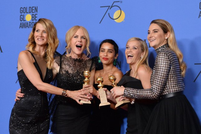 The cast of Big Little Lies, left to right, Laura Dern, Nicole Kidman, Zoe Kravitz, Reese Witherspoon and Shailene Woodley. The cast said goodbye to the series following its finale. File Photo by Jim Ruymen/UPI
