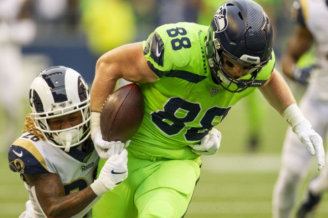 Seattle Seahawks tight end Will Dissly (88) ranks No. 10 in targets among NFL tight ends in 2019. Photo by Jim Bryant/UPI