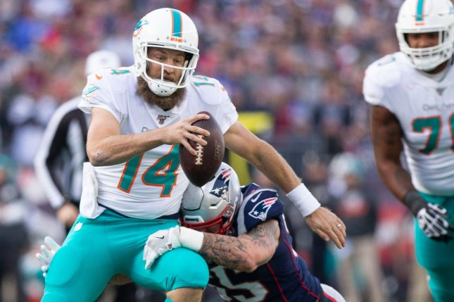 Miami Dolphins quarterback Ryan Fitzpatrick (pictured) should serve as a decent streamer for Week 13 of the fantasy football season if Tua Tagovailoa misses another game due to his thumb injury. File Photo by Matthew Healey/UPI
