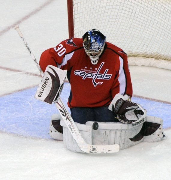 Washington Capitals goalie Michal Neuvirth blocks a shot from the Montreal Canadiens during the third period at the Verizon Center in Washington on January 5, 2010. UPI/Alexis C. Glenn