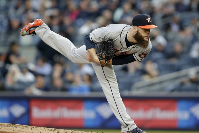 Houston Astros starting pitcher Dallas Keuchel throws a pitch in the first inning. File photo by John Angelillo/UPI