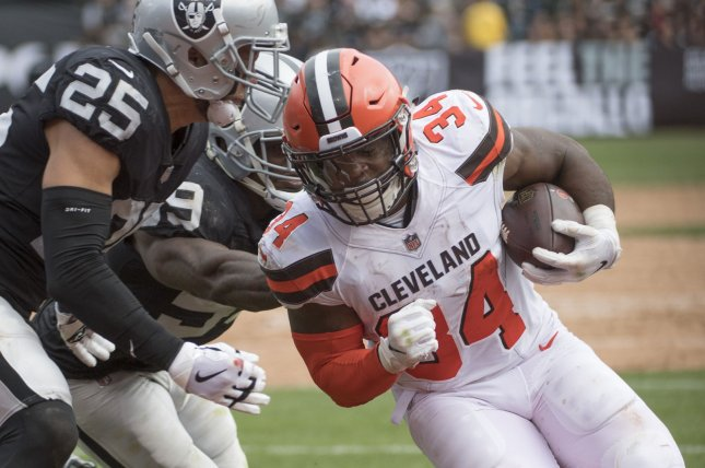 Former Cleveland Browns running back Carlos Hyde was traded to the Jacksonville Jaguars on Friday. Photo by Terry Schmitt/UPI