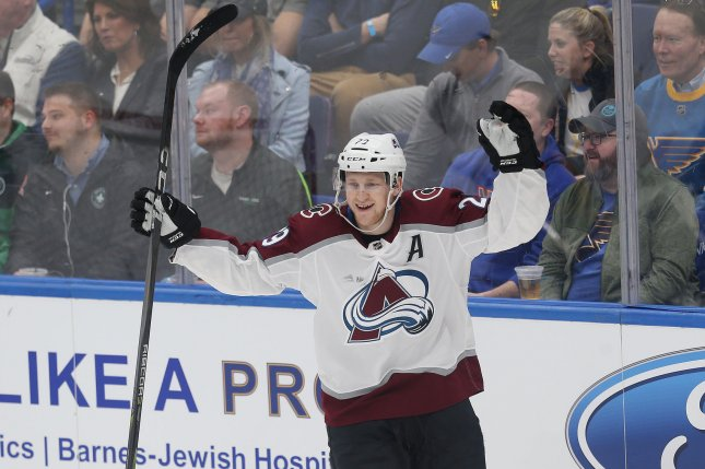 Nathan MacKinnon and the Colorado Avalanche face the Chicago Blackhawks on Friday. Photo by Bill Greenblatt/UPI
