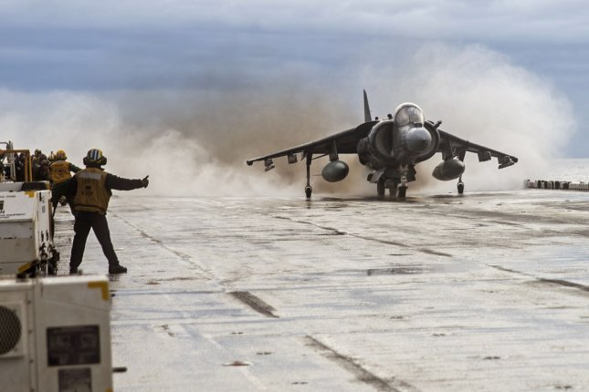 An AV-8B Harrier from the 22nd Marine Expeditionary Unit launches off the flight deck of the amphibious assault ship USS Wasp in December 2016. Boeing has received a contract to provide support services for several aircrafts including the AV-8B Harrier. Photo by Levingston Lewis/U.S. Navy