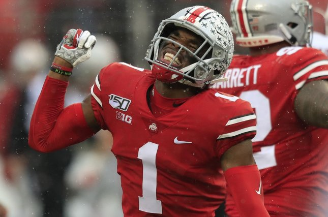 Jeff Okudah -- a projected first-round pick -- is among three former Ohio State players planning to virtually participate in the 2020 NFL Draft. File Photo by Aaron Josefczyk/UPI