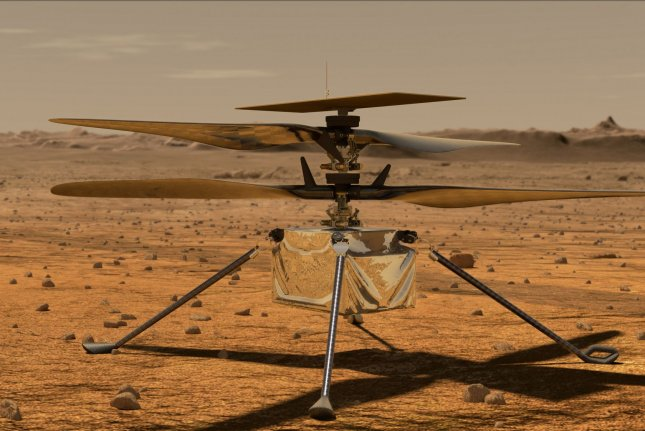 This is an artist's concept of NASA's Ingenuity helicopter on Mars, which could usher in a new method to explore the Red Planet. Image courtesy of NASA