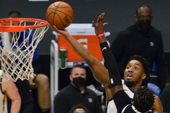 Utah Jazz guard Donovan Mitchell scored 27 of his game-high 37 points in the first half of a Game 2 win over the Los Angeles Clippers in a Western Conference Semifinals game Thursday in Salt Lake City. File Photo by Jim Ruymen/UPI