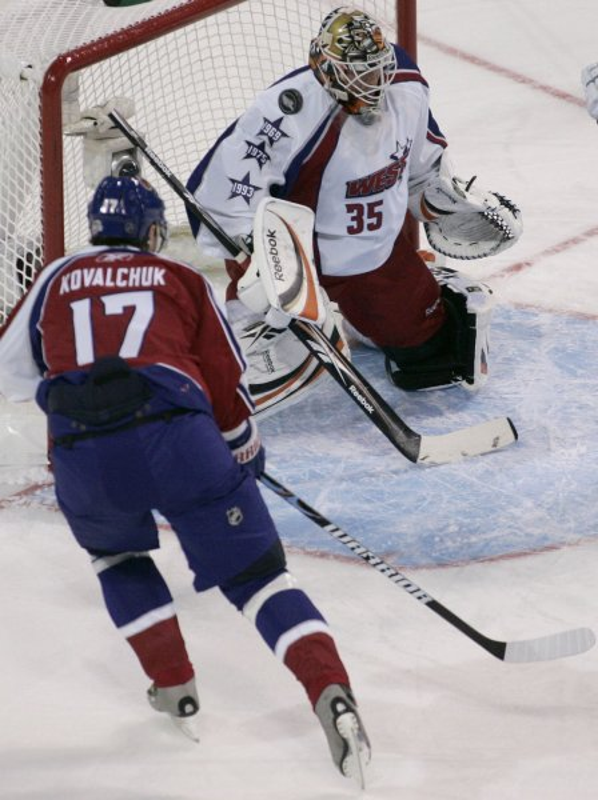 Ilya Kovalchuk (17) fires a shot at the NHL All-Star Game on Jan. 25, 2009. (UPI Photo/Matthew Healey)