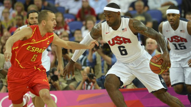 United States' Lebron James sttempts to dribble around Spain's Sergio Rodriguez during the USA-Spain Men's Basketball Gold Medal Medal game at the 2012 Summer Olympics, August 12, 2012, in London, England. UPI/Mike Theiler