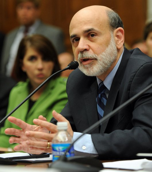Federal Reserve Board Chairman Ben Bernanke testifies before the House Financial Services Committee regarding reforming the financial regulatory system on Capitol Hill in Washington on July 24, 2009. (UPI Photo/Roger L. Wollenberg)