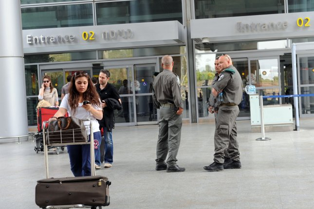 Israeli border police stand guard April 15, 2012, at Israel's Ben Gurion Airport near Tel Aviv. Tens of thousands of Palestinians have been banned from travel using the airport after two Palestinian men opened fire at a Tel Aviv cafe, killing four people. File Photo by Debbie Hill/UPI