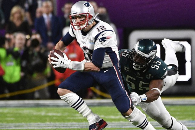 Philadelphia EaglesPhiladelphia Eagles defensive end Brandon Graham (55) stops New England Patriots quarterback Tom Brady (12) during the fourth quarter of Super Bowl LII at U.S. Bank Stadium in Minneapolis, Minnesota on February 4, 2018. The Eagles defeated the Patriots 41-33 to secure their first Super Bowl win. Photo by Brian Kersey/UPI