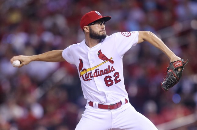 Daniel Poncedeleon and the St. Louis Cardinals face the Los Angeles Dodgers on Tuesday. Photo by Bill Greenblatt/UPI