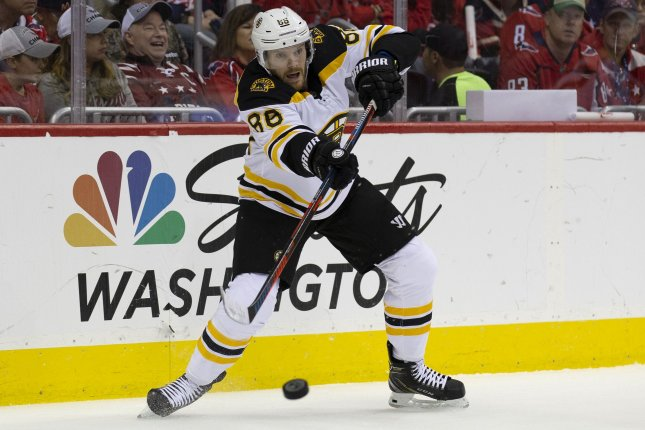 David Pastrnak and the Boston Bruins face the Florida Panthers on Tuesday. Photo by Alex Edelman/UPI