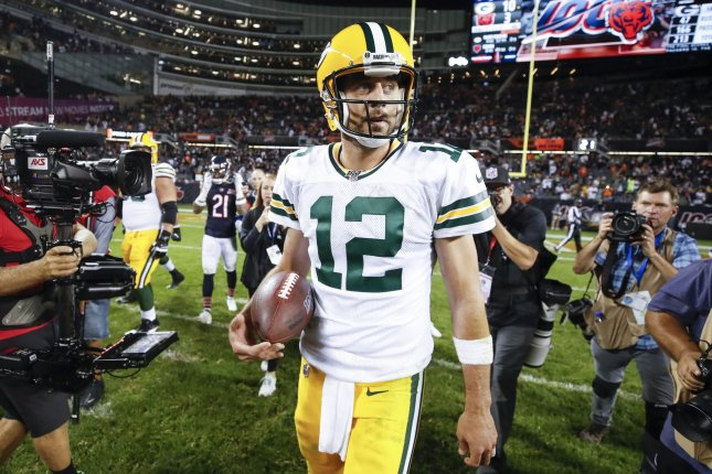 Green Bay Packers quarterback Aaron Rodgers has thrown 10 touchdown passes in his last three games. Photo by Kamil Krzaczynski/UPI