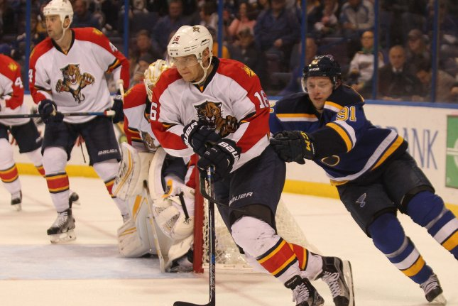 Florida Panthers forward Aleksander Barkov (L) is the first player in Panthers history to capture the award after he was named a finalist for the first time. File Photo by Bill Greenblatt/UPI